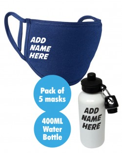5pk Face Covering + Water Bottle