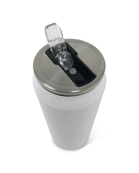 Double Wall 17oz Stainless Steel Can w/ Straw