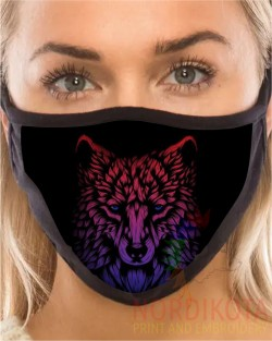 Neon Wolf Face Mask