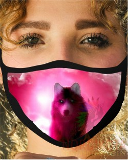 Pink Wolf Face Mask