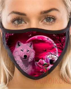 Pink Wolf Moon Face Mask