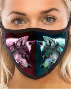 Twin Wolf Face Mask