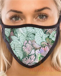 Pink Leaves Face Mask